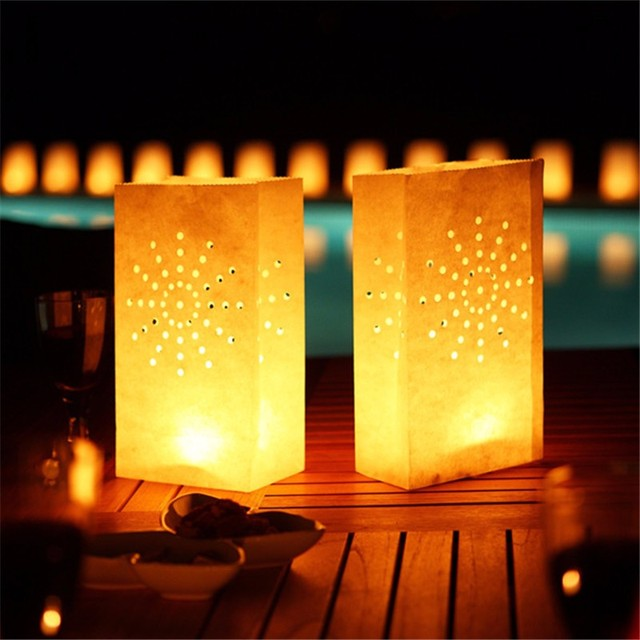 20Pcs/lot Sunshine Tea light Holder Luminaria Paper Lantern Candle Bag For Christmas Party Wedding Decoration