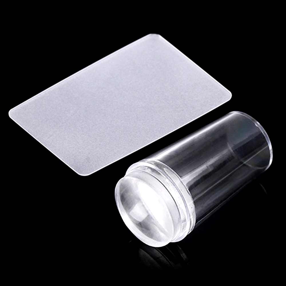 ZINXIN 1Set 2.8cm Head Clear Jelly Silicone Nail Art Stamper Scraper With Cap Stamping Plates Polish Transfer Templates DIY Tool