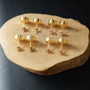 Image 3 - WT E151 Güzel sıcak satış sparkly doğal labradorit yuvarlak çivi taş altın daldırma çok renkli taş moda küpe