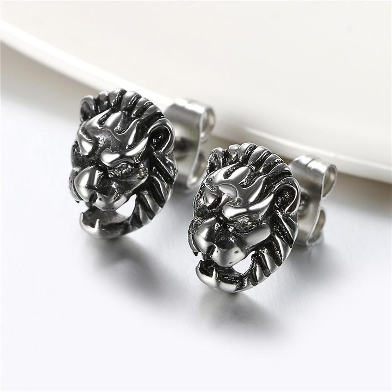 Boniskiss Vintage Animal Stud Earrings Dragon/Lion Stud Earrings Punk Men Earrings For Christmas Gift Jewelry Brinco Masculino