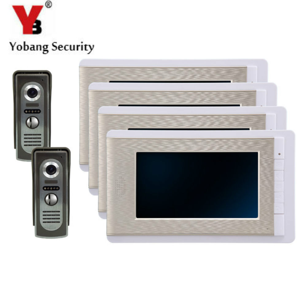 YobangSecurity 7 Inch Color LCD Villa Video Door Phone Doorbell Intercom Entry System Kit 4-Monitor 2-Camera House Gate Intercom yobangsecurity villa apartment eye door bell 7tft lcd color video door phone doorbell intercom system 1 camera 6 monitor