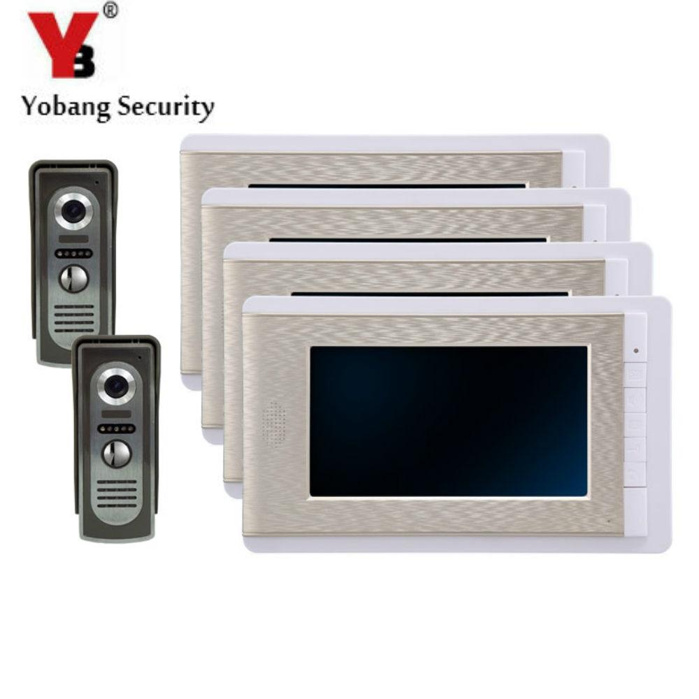 Yobangsecurity 7 pouce couleur lcd villa vidéo porte téléphone sonnette interphone système dentrée kit