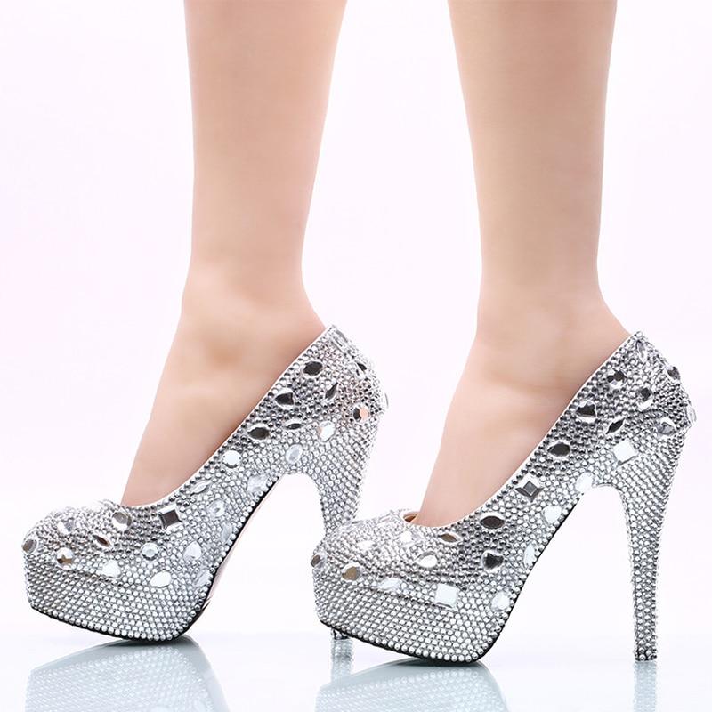 Magnifique Silver Hauts À Mariée 5cm 14cm Heels Chaussures Talons Plate Heels Mariage forme Demoiselle Pompes 8cm Strass Cristal Robe 11cm D'honneur De silver Femmes Argent Ok80XwPn