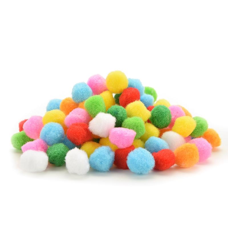 white Soft Fluffy Pom Poms Pompoms Ball Assorted Childrens DIY Crafts 8mm