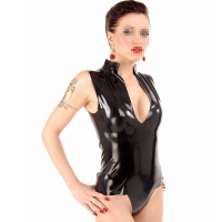 Women Sexy Sleeveless Latex Catsuit Top Fetish Black V-neck Rubber Female Costume Large Size Hot Sale Customize Service