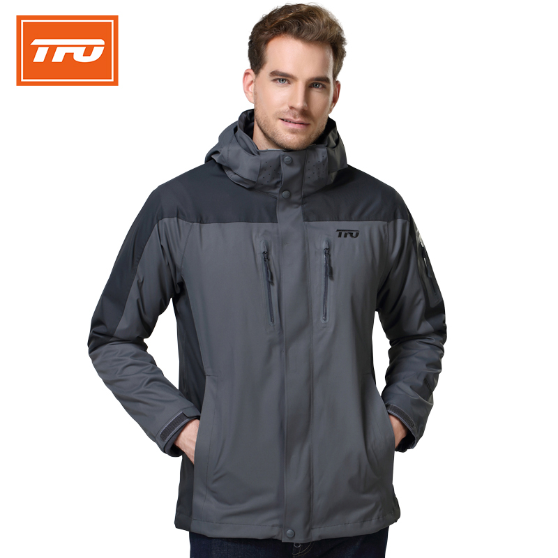 TFO men hiking jacket autumn and winter new men's 3 in 1 waterproof breathable jacket outdoor sport moutain climbing coat 662711