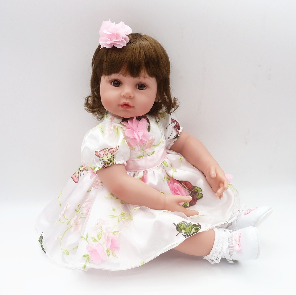 Adorable Curly Brown Hair Vinyl Silicone Reborn Toddler Princess Girl Baby Alive Doll Toys with Soft Cloth Body Birthday Gifts adorable soft cloth body silicone reborn toddler princess girl baby alive doll toys with strap denim skirts pink headband dolls