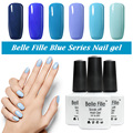 Belle Fille UV Gel Nail Polish Blue series Nail Polish Gel LED Light UV Manicure for Gel Nail Blue Sky Color Fingernail Polish