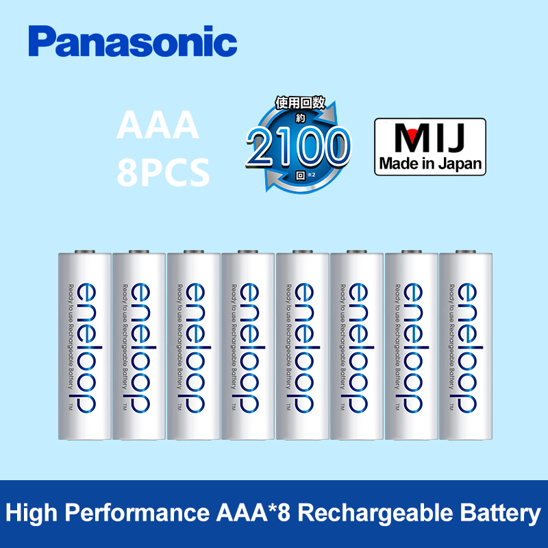 Panasonic 8pcs <font><b>aaa</b></font> Rechargeable Battery 100% Original 800mAh Precharge 1.2V <font><b>AAA</b></font> Eneloop Ni-MH Batteries for remote control/toys image