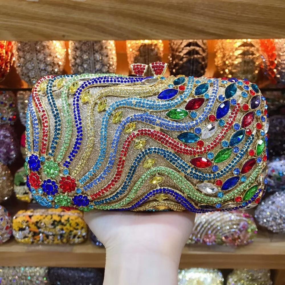 XIYUAN women Colorful Flower Clutch bag Gold Crystal Luxury handbag Clutches Ladies Rhinestone Party Bag Designer Crystal PurseXIYUAN women Colorful Flower Clutch bag Gold Crystal Luxury handbag Clutches Ladies Rhinestone Party Bag Designer Crystal Purse