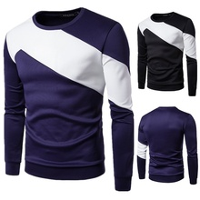 ZOGAA Spring Autumn Korean Men T Shirt Vintage Style Patchwork 5 COLOR O-neck Long Clothing 2019 Plus Size S-3XL