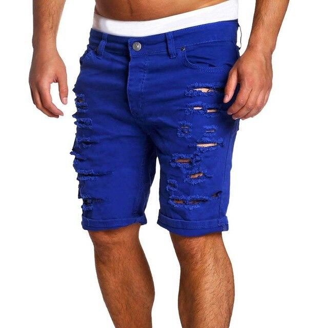 MJARTORIA 2019 New Men's Regular- Denim Short Jean Pants Summer Casual Hole Zipper  Mid Waist Shorts Men's Solid Jean Shorts 6