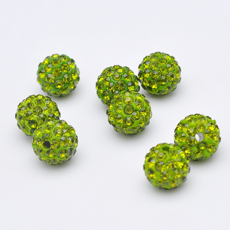 Wholesale10mm12mm14mm Green Clay Disco Ball Pave Crystal Shamballa Beads For Jewelry Jewelry & Accessories Beads necklace And Hand Catenary Making Diy Utmost In Convenience