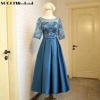 SOCCI Weekend Elegant Evening Dress 2017 Vintage Tea Length Short Sleeve Formal Cocktail Party Dresses Prom