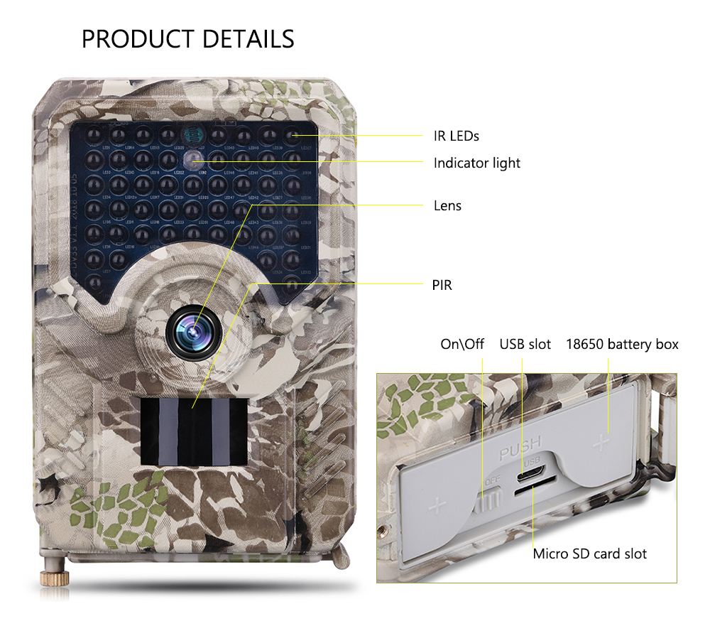 Goujxcy PR200 Trail Camera 12MP 49pcs 940nm IR LED Hunting Camera IP56 Waterproof Wildlife Camera Night Vision photo traps scout in Hunting Cameras from Sports Entertainment