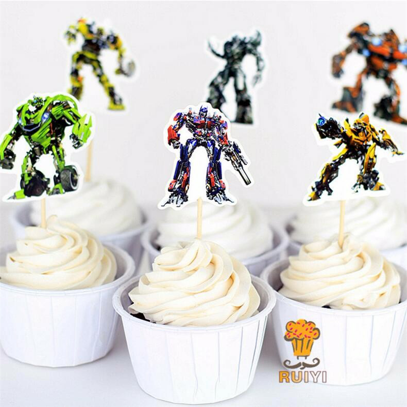 24pcslot transformers party cupcake toppers picks birthday party decoration kids supplieschina - Cheap Party Decorations
