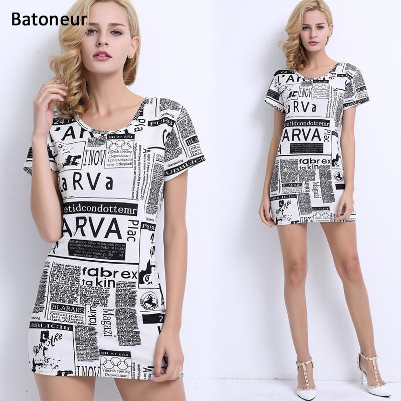 Batoneur 2017 Summer T Shirt Dress Women One Piece Mini Casual Dress Long Tees Tops Vestidos Newspaper Style Casual Letter Print