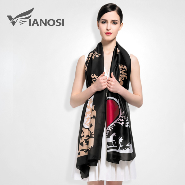[Vianosi] bufanda de seda las mujeres del diseñador de moda marca bufandas sjaal mantones casual imprimir fulares femme lujo va008