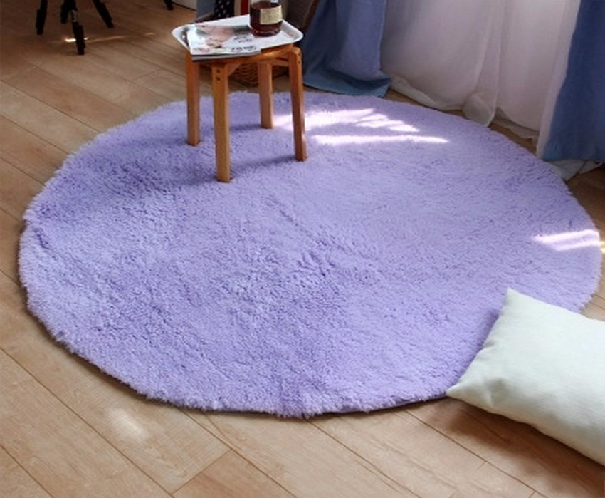Home Decor Bedroom Mat Door Floor Mat Fluffy Round Foam Rug Non Slip ...
