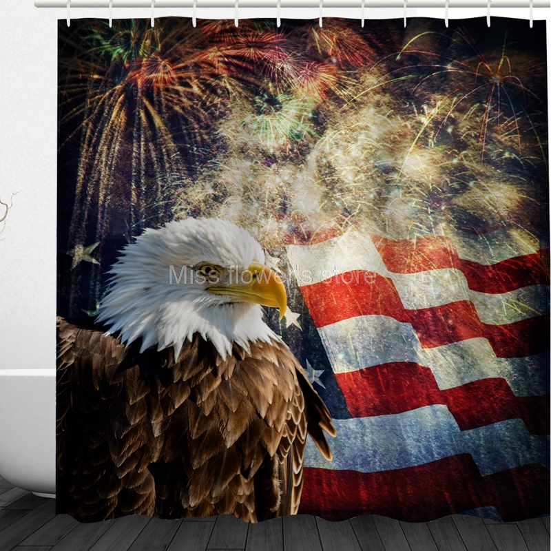 Beautiful Fireworks And Peace Dove Design Custom Shower Curtain Bathroom Waterproof Mildewproof Polyester Fabric With 12 Hooks image