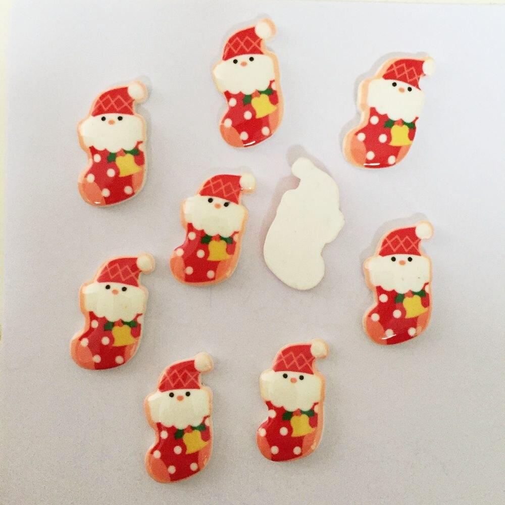 10pcs Merry Christmas Resin Flatback Buttons DIY Scrapbooking Appliques