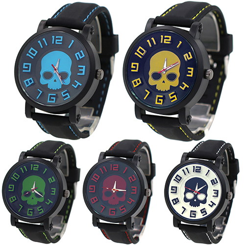 2015 Fashion Sports Men's Silicone Skull Punk Quartz Wrist Watch Wristwatch