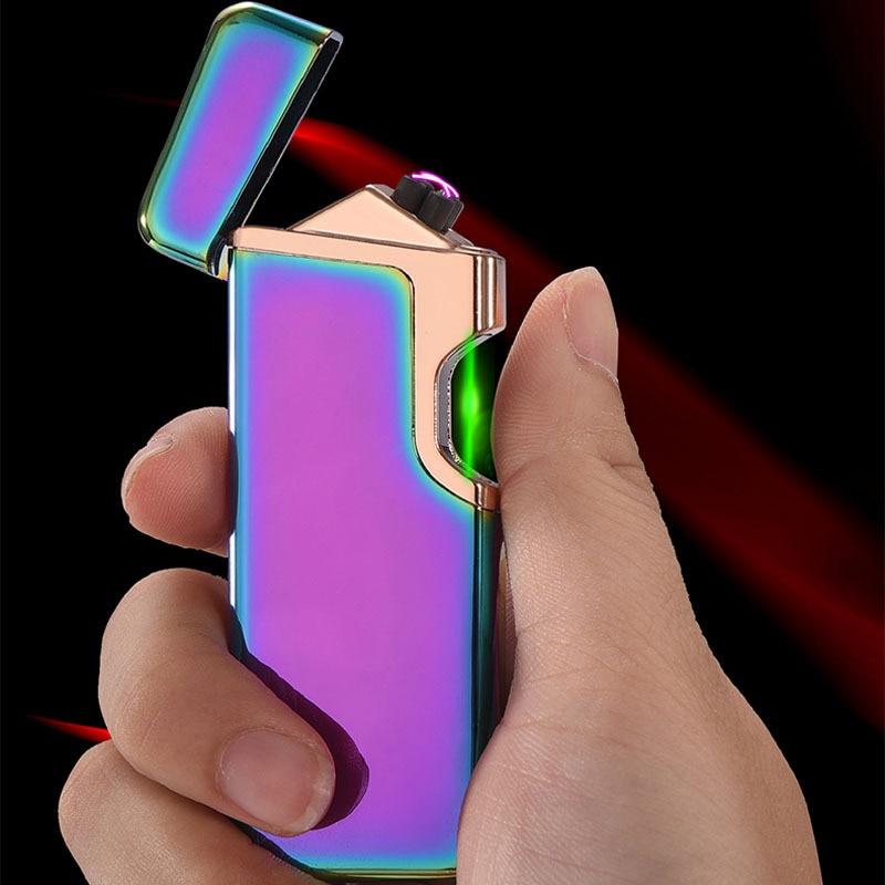 Finger Induktion USB Elektronische Leichter Metall Plasma Doppel ARC Zigarette Leichter Feuer Starter Elektrische Turbo Feuerzeuge Männer Geschenke