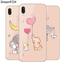 DREAMFOX L572 Cute Elephant Soft TPU Silicone  Case Cover For Huawei Honor 6A 6C 7X 9 10 P20 Lite Pro P Smart 2019