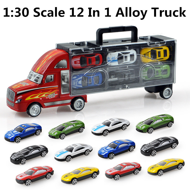 12 alloy cars 1:30 scale truck Glide toy model,Large trucks,best children gift box packaging, - Alloy Magic Kingdom store