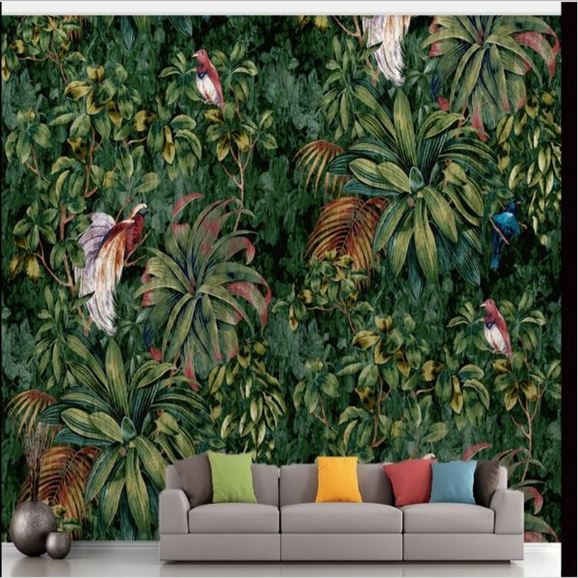 Beibehang Custom Large Fresco High   Definition Hand   Painted Flowers And  Birds TV Background Wall