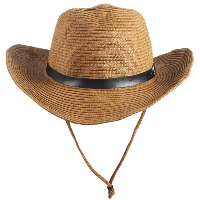 7208e57ca179e Men s Western Straw Cowboy Hat Women Beach Cap Wide Brim Church Cap Unisex  Fedora Trilby Sun Hat Gambler Hat with Chin Strap