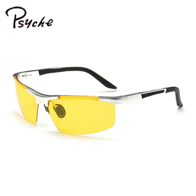 PSYCHE Cool Oculos De Sol Gafas Aluminum Polarized Sunglasses Men Brand Designer Buffalo Horn Glasses font