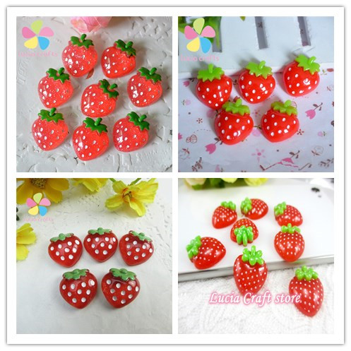 2pcs6pcs24pcs Strawberry Shape Resin Cabochon Scrapbook