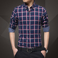 Men Shirt Hot sale Spring Autumn Business cotton long sleeve Lattice Shirt lapels plaid men's shirts casual slim fit shirts