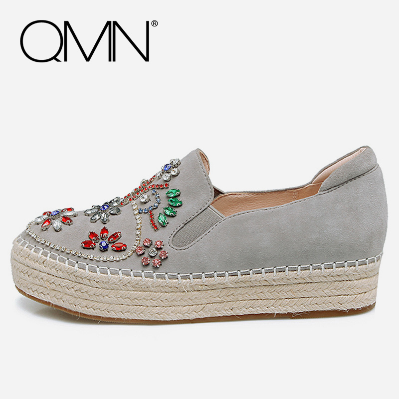 QMN women genuine leather flats Women Cow Suede Moccasins Slip On Crystal Casual Shoes Woman Leather Loafers Women Espadrilles qmn women crystal embellished natural suede brogue shoes women square toe platform oxfords shoes woman genuine leather flats