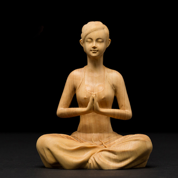 Yoga Beauty Figurine Hand Carved Boxwood
