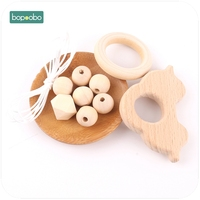 Bopoobo 1set Wooden Car Teether DIY Set Wooden Beads Mommy Hands-on Baby Birthday Gift BPA Free DIY Bracelet Baby Toy Teether