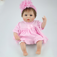 40cm Silicone Reborn Baby Doll With Pink Dress Lifelike Soft Cloth Newborn Babies Dolls For Girls Birthday Gifts Brinquedos