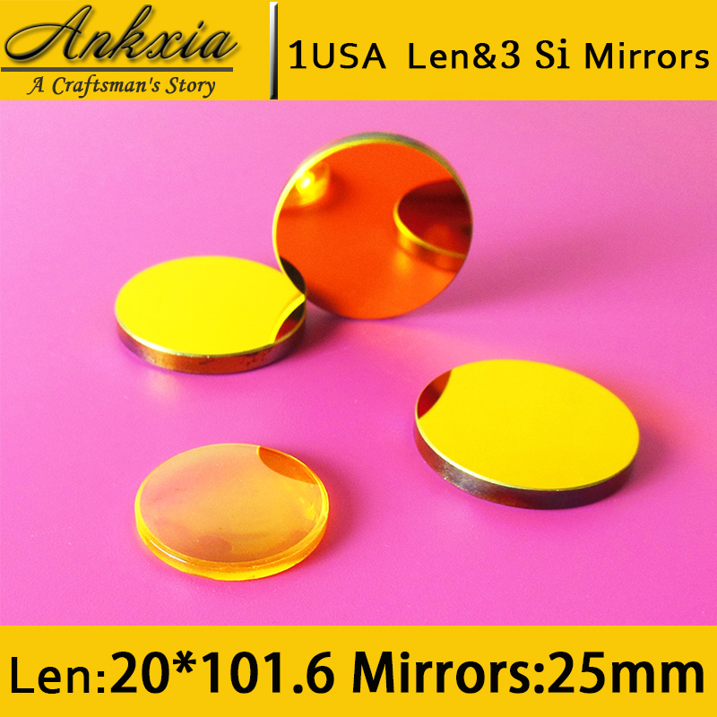 1PCS Dia 20mm Length 101.6mm USA ZnSe Co2 Laser Focus Len and 3PCS 25mm Silicon Mirrors for Cutter Engraving Machine  цены
