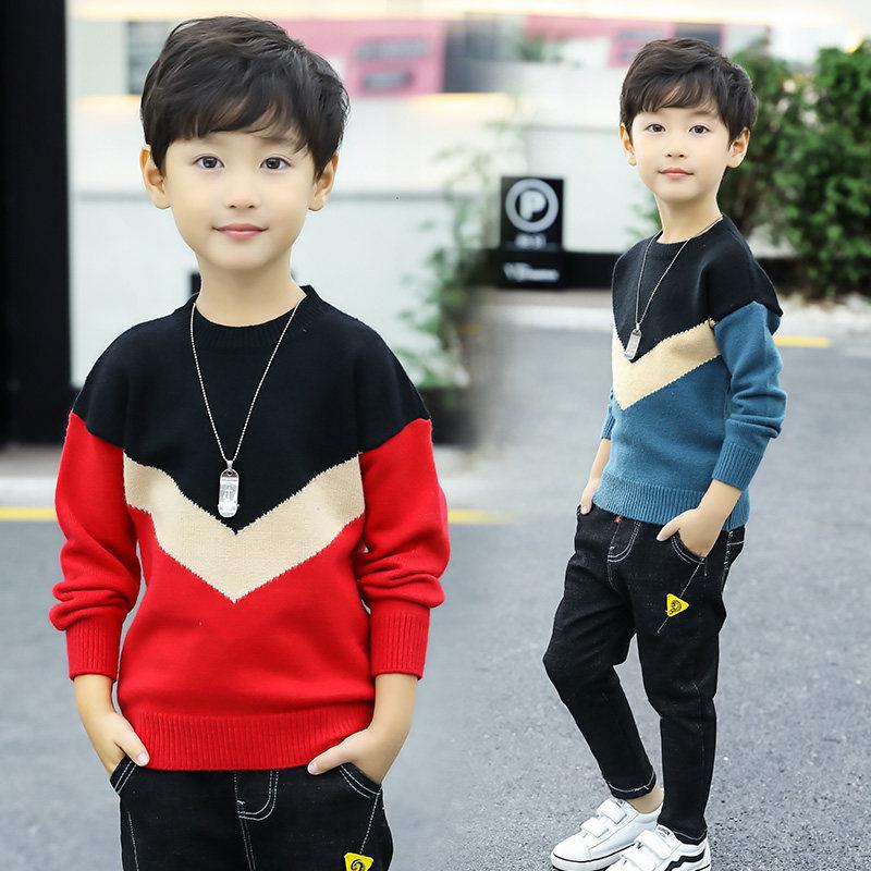 Enfants garçons chandails enfants pull 2019 automne hiver adolescent garçon haut tricoté enfants garçons Patchwork pull 3 4 5 7 9 11 13