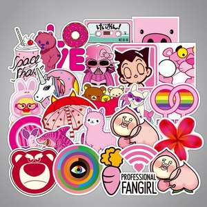 Image 5 - 50 pcs/pack Pink Fashion Style Graffiti Stickers For Moto car & suitcase cool laptop stickers Skateboard sticker