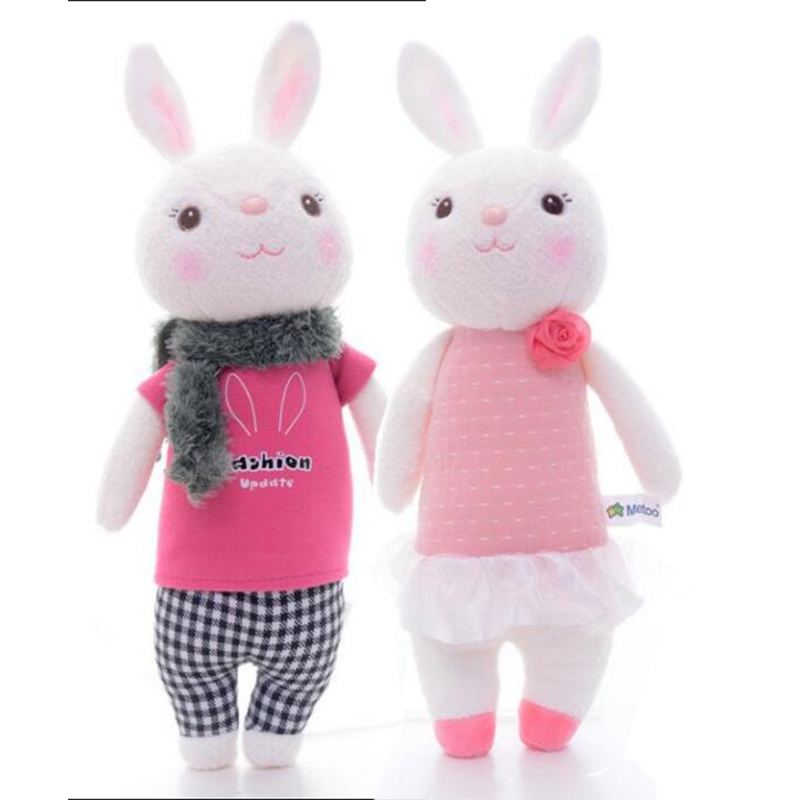 1 Pair Official METOO Tiramisu Lace Dress Bunny Rabbit Plush Wedding Proposal Dolls Toys 10'' Best Christmas Gifts for Kid