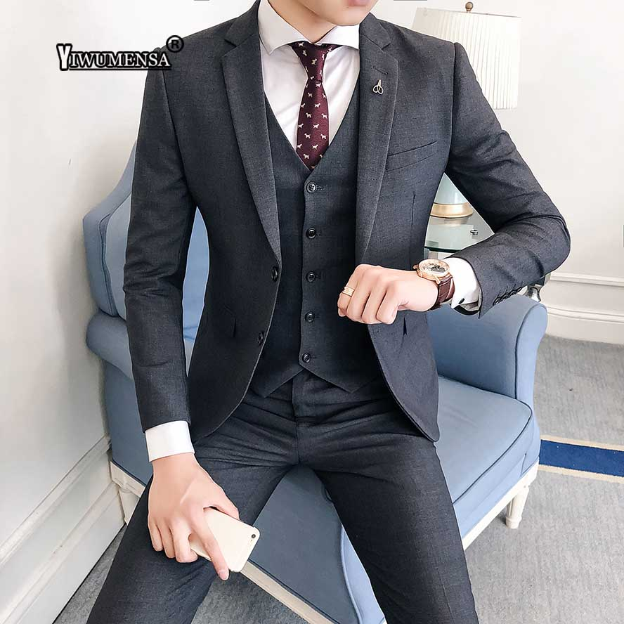 yiwumensa costume homme 2018 wedding suits for men 3 piece. Black Bedroom Furniture Sets. Home Design Ideas