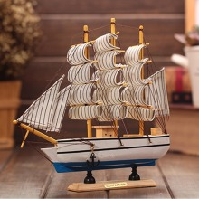 Wooden Ship Model Miniatur Marine Wood Maritime Boat Nautical Sailing Ship Home Desk Decoration Decor Crafts Random Base Color