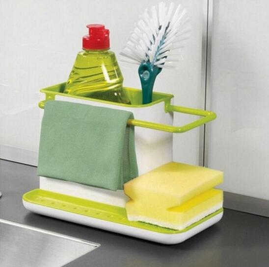 Sponge Kitchen Box Draining Rack Dish Self Draining Sink Storage Rack Kitchen Organizer Stands Utensils Towel Rack YS-18 draining soap holder with sponge