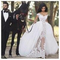 Роскошные африканские Свадебные платья Русалка Аппликации съемный шлейф классические 2019 элегантный Нео