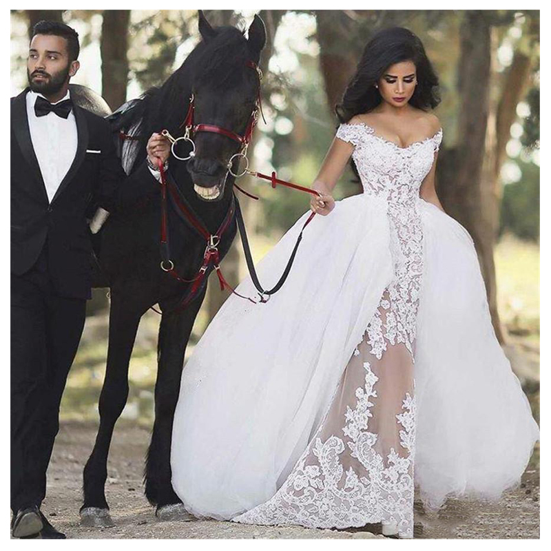 Luxury African Wedding Dresses Mermaid Appliques Detachable Train Classical Bridal Gowns 2019 Elegant Informal Bride Dress