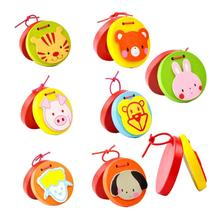 Baby Educational Toy Cartoon Kids Wooden Castanet Clapper Handle Musical Instrument Toy Baby Hand Grasping Toy