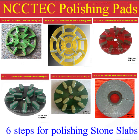 [1st 2nd 3rd 4th 5th 6th step] 8'' 10'' Diamond Polishing Pads for Stone Slabs | 200mm 250mm resin granite Basalt slab tools цена
