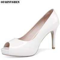 OUQINVSHEN Classic High Heels Peep Toe Pumps Round Toe Thin Heels Women Ladies Pumps Casual Fashion